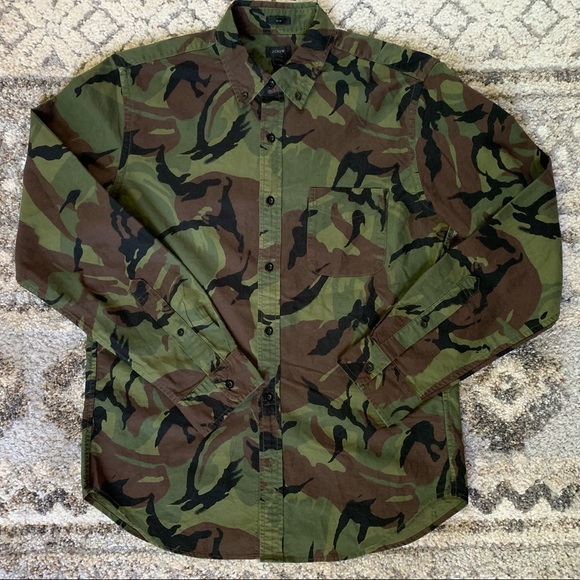 J. Crew Slim Fit Camouflage Button Up S